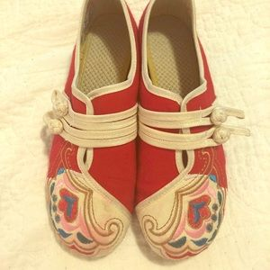 Boho Red Embroidered Slip On Flats Shoes 8, 8.5